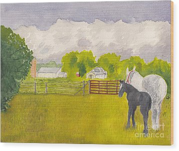 Storm Clouds Mare And Colt At Sunrise Wood Print