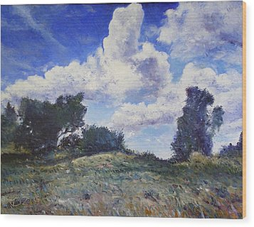 Storm Clouds Over Monte Cardeto Lazio Italy 2009 Wood Print by Enver Larney