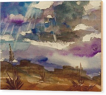 Storm Clouds Over The Desert Wood Print