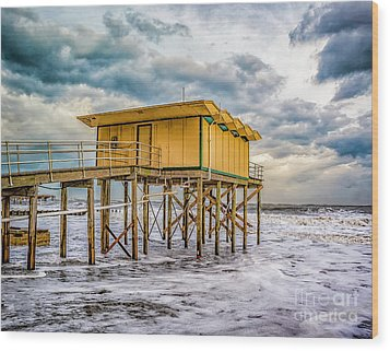 Wood Print featuring the photograph Storm Clouds Over The Ocean by Nick Zelinsky