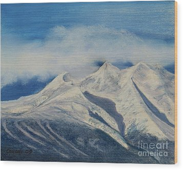 Wood Print featuring the painting Storm Clouds Over Winter Mountain Blues by Stanza Widen