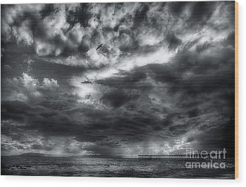 Wood Print featuring the photograph Storm Clouds Ventura Ca Pier by John A Rodriguez