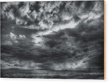 Storm Clouds Ventura Ca Pier Wood Print by John A Rodriguez