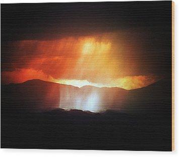 Storm Glow Night Over Santa Fe Mountains Wood Print