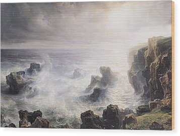 Storm Off The Coast Of Belle Ile Wood Print by Jean Antoine Theodore Gudin