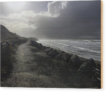 Storm On Strandhill Wood Print by Amy Williams