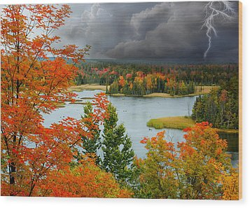 Storm Over Ausable River Wood Print
