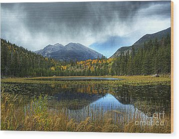 Storm Over Cub Lake Wood Print by Pete Hellmann