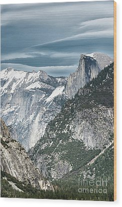 Wood Print featuring the photograph Storm Over Half Dome by Sandra Bronstein