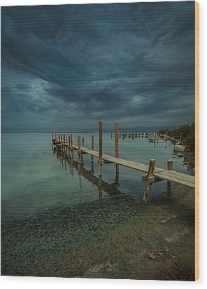 Storm Over The Dock Wood Print