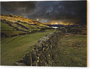 Storm Over Windermere Wood Print by Meirion Matthias