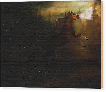 Storm Spooked Wood Print by Angela A Stanton