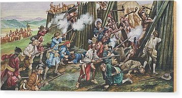 Storming Of The Fortress Of Neoheroka Wood Print by Ron Embleton