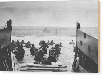 Storming The Beach On D-day  Wood Print