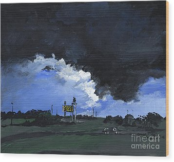 Storm's A Comin' Wood Print by Joseph A Langley