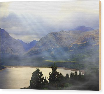 Storms A Coming-lower Two Medicine Lake Wood Print by Marty Koch