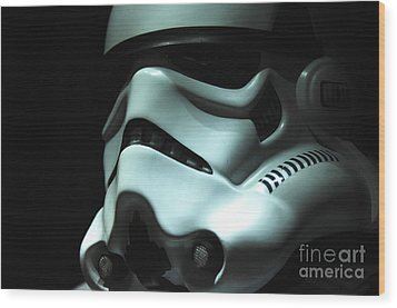Stormtrooper Helmet Wood Print by Micah May
