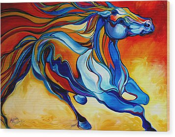 Stormy An Equine Abstract Southwest Wood Print by Marcia Baldwin