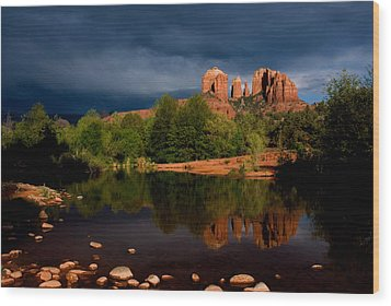 Stormy Day At Cathedral Rock Wood Print by David Sunfellow