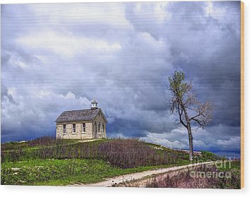 Stormy Day At Lower Fox Creek School Wood Print by Jean Hutchison