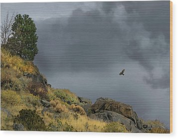Wood Print featuring the photograph Stormy Flight by Frank Wilson
