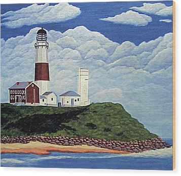 Wood Print featuring the painting Stormy Montauk Point Lighthouse by Frederic Kohli