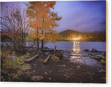 Wood Print featuring the photograph Stormy Night At Round Lake by Cat Connor