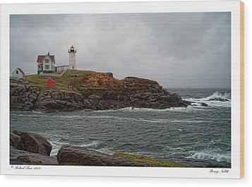 Wood Print featuring the photograph Stormy Nubble by Richard Bean