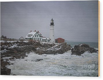 Stormy Portland Head Light Wood Print