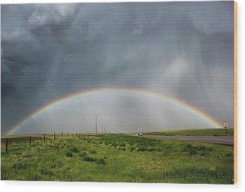 Stormy Rainbow Wood Print