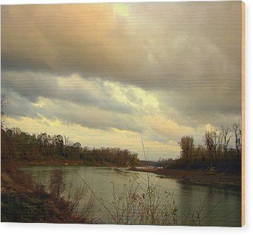 Stormy River Wood Print by Dottie Dees