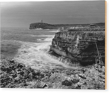 Wood Print featuring the photograph stormy sea - Slow waves in a rocky coast black and white photo by pedro cardona by Pedro Cardona