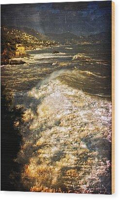 Stormy Sea Wood Print by Silvia Ganora