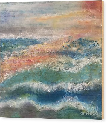 Wood Print featuring the painting Stormy Seas by Kim Nelson