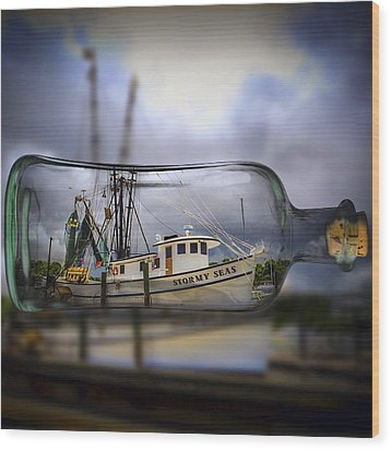 Wood Print featuring the photograph Stormy Seas - Ship In A Bottle by Bill Barber