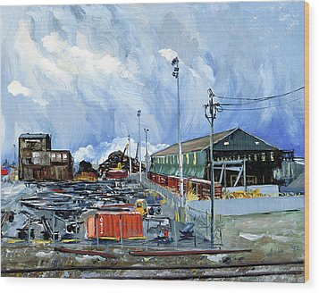 Stormy Sky Over Shipyard And Steel Mill Wood Print by Asha Carolyn Young