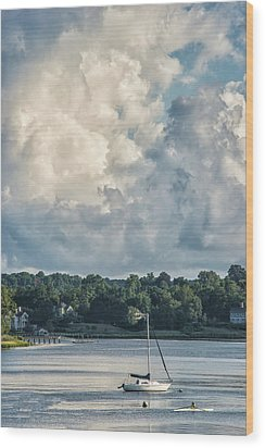 Stormy Sunday Morning On The Navesink River Wood Print by Gary Slawsky
