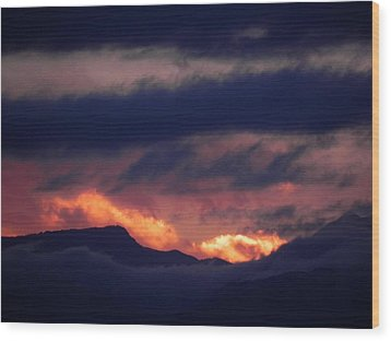 Stormy Sunset Wood Print by Adrienne Petterson