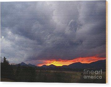 Stormy Sunset Wood Print