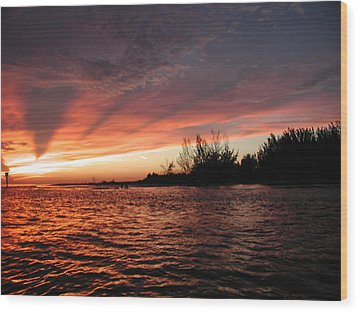 Wood Print featuring the photograph Stormy Sunset by Nancy Taylor