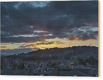 Stormy Sunset Over Happy Valley Oregon Wood Print by David Gn