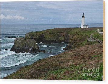 Stormy Yaquina Head Lighthouse Wood Print