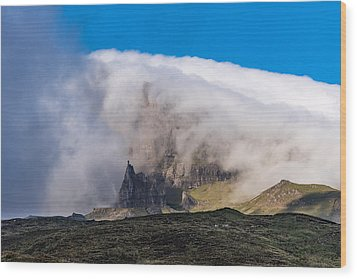 Wood Print featuring the photograph Storr In Cloud by Gary Eason