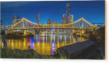 Story Bridge- Brisbane Queensland Wood Print by Mark Lucey