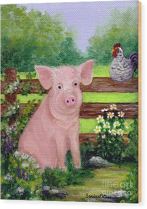 Storybook Pig Wood Print by Sandra Estes