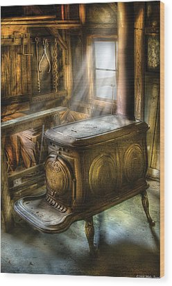 Stove - A Warm Cozy Stove Wood Print by Mike Savad