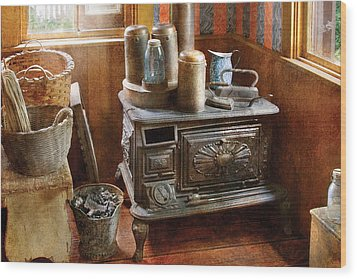 Stove - Remember The Good Ol Days When  Wood Print by Mike Savad