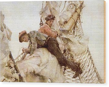 Wood Print featuring the painting Stowing The Headsails  by Henry Scott Tuke