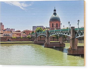 Wood Print featuring the photograph St.pierre Bridge In Toulouse by Elena Elisseeva