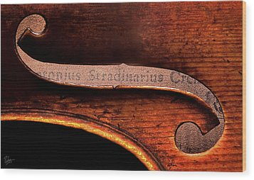 Stradivarius Label Wood Print